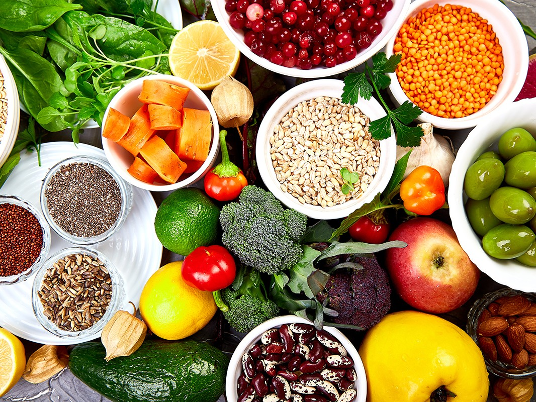 Balanced food background, organic food for healthy nutrition.