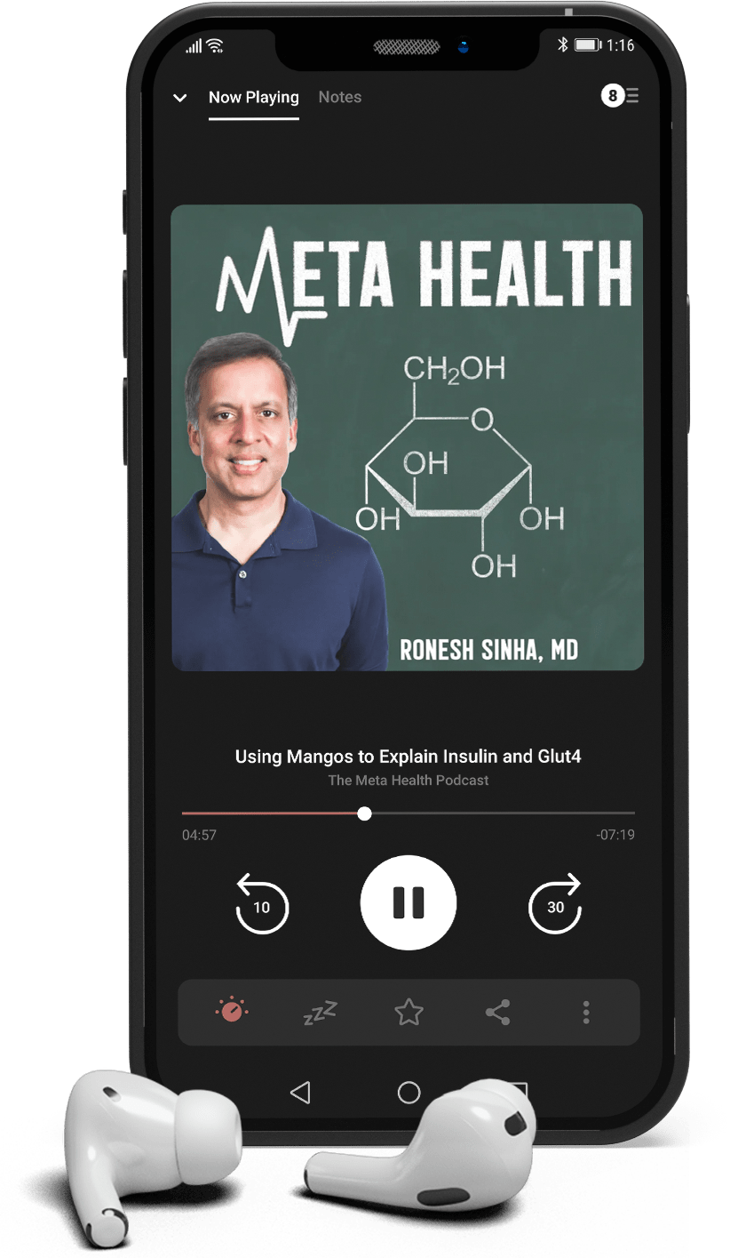 The Meta Health Podcast on an iPhone